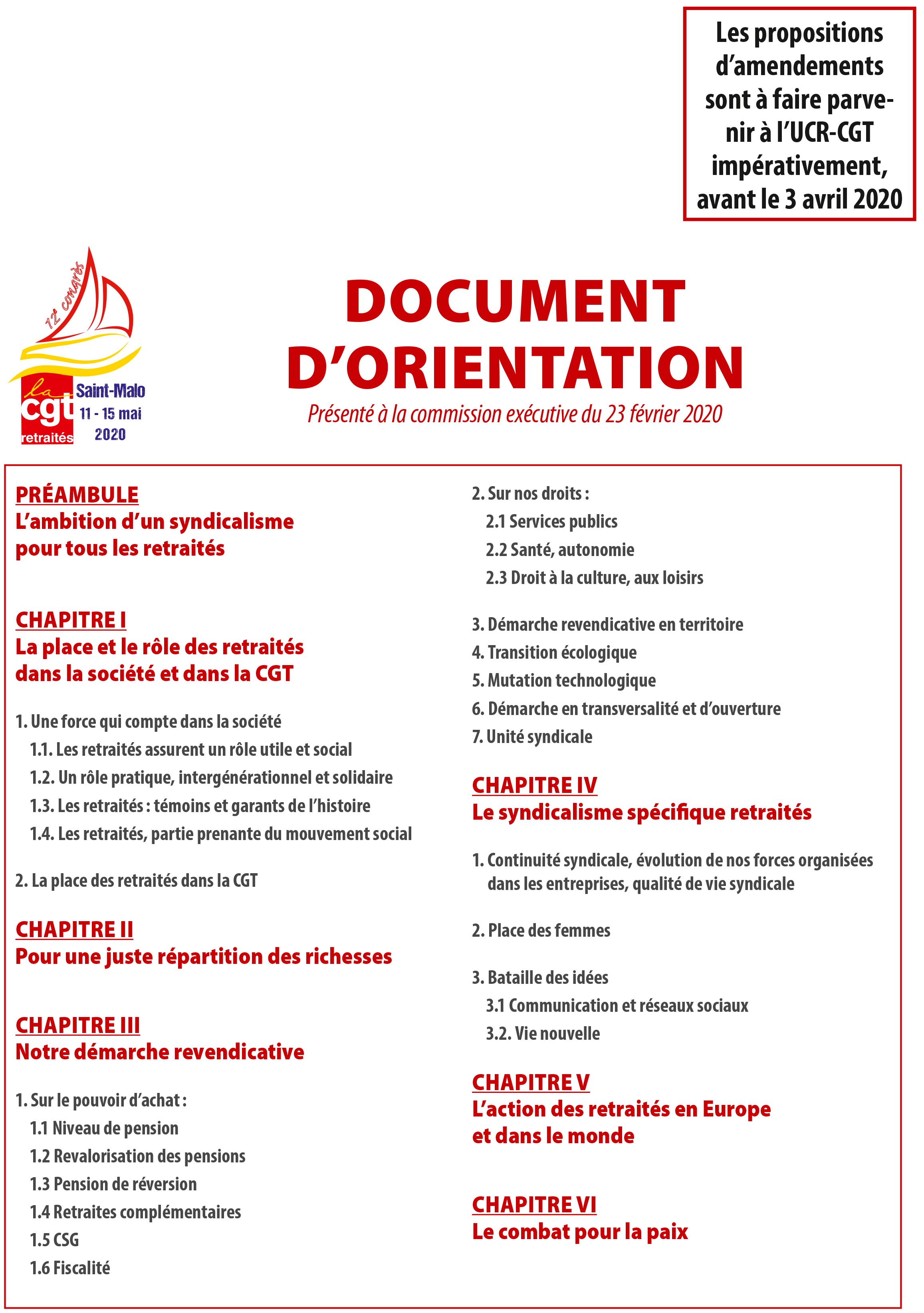 Le document d'orientation 2020